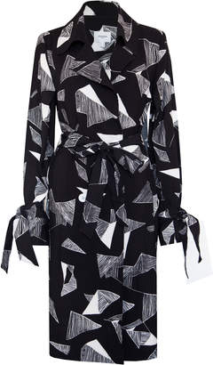 Jovonna London Black Rhode Origami Print Trench Dress - UK8 - White/Black