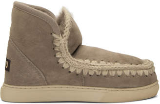 Mou Grey Velvet Eskimo Sneaker Boots