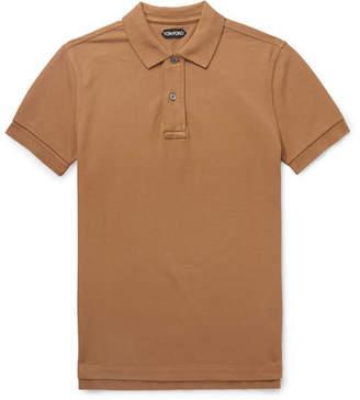 Tom Ford Garment-Dyed Cotton-Pique Polo Shirt - Men - Tan