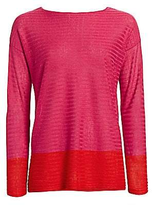 Saks Fifth Avenue Women's COLLECTION Silk Linen Colorblock Top