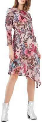 Women's Topshop Pop Floral Ruffle Midi Dress $130 thestylecure.com