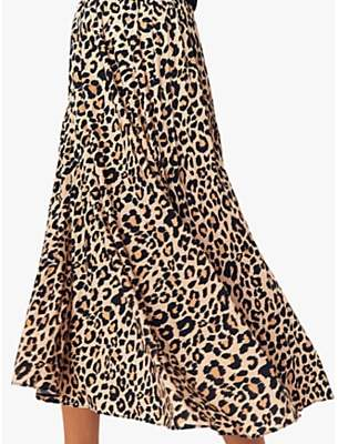 c6dca9223c Oasis Leopard Pleated Skirt, Neutral/Multi