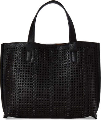 Street Level Black Perforated Mini Tote