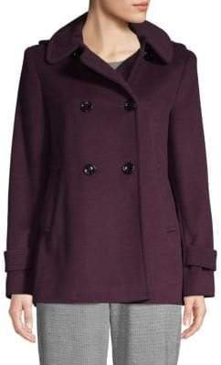 Calvin Klein Hooded Wool-Blend Peacoat