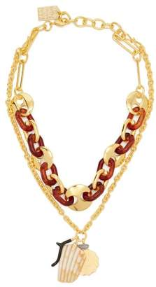 Lizzie Fortunato Elba Layered Charm Gold Plated Necklace - Womens - Brown