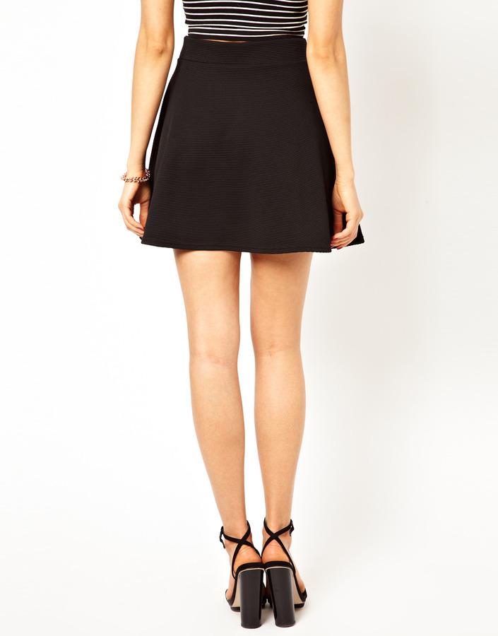 Lipsy Skater Skirt in Ribbed Jersey