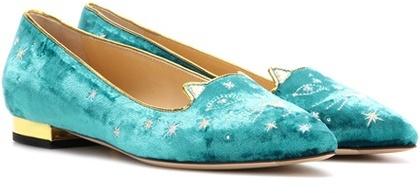 Charlotte OlympiaCharlotte Olympia Mid-century Kitty Velvet Slippers