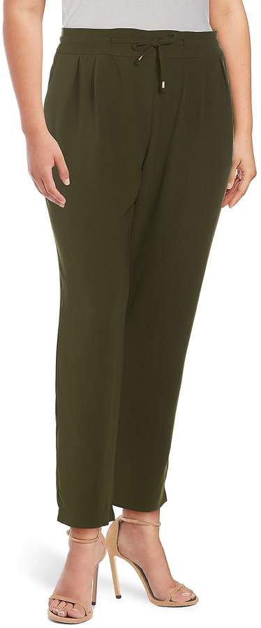 Lea & Viola Women's Plus Classic Drawstring Pants - Olive, Size 3x (22-24)