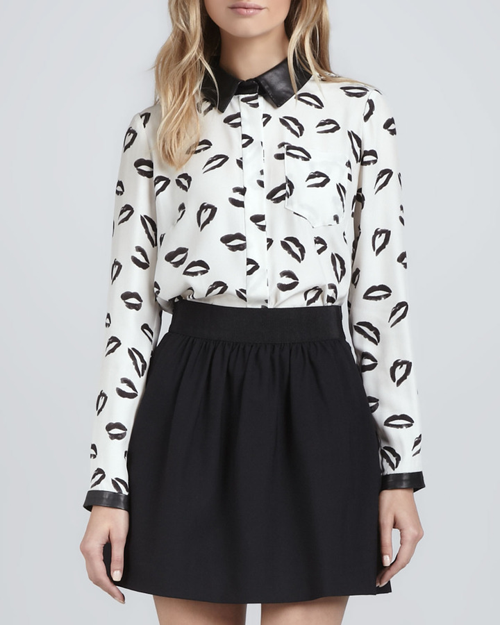 Milly Printed Blouse with Leather Collar & Cuffs