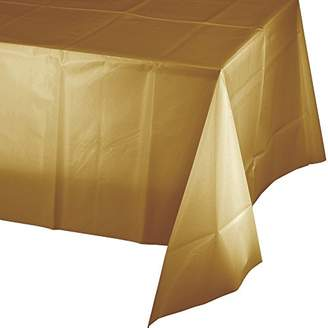 """Mountclear 12-Pack Disposable Plastic Tablecloths 54"""" x 108"""" Rectangle Table Cover (GOLD)"""