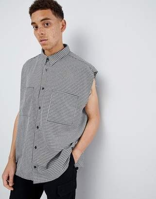 Mennace Oversized Gingham Sleeveless Shirt