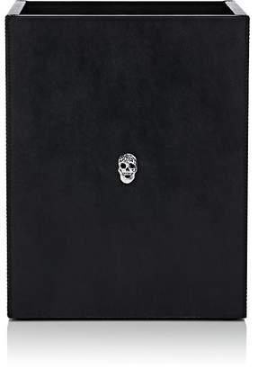 Connor Walter Skull Leather Large Rectangular Wastebasket