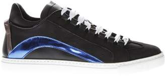 DSQUARED2 Black & Blue Cut Out Sneakers In Leather