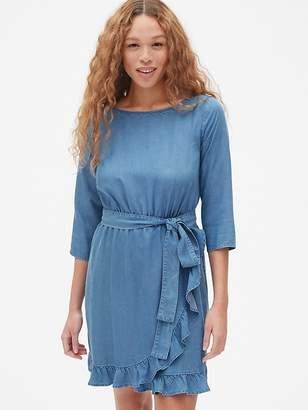 Gap Faux-Wrap Ruffle Hem Dress in TENCEL