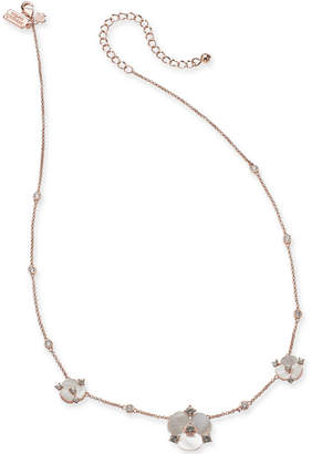 """Kate Spade Rose Gold-Tone Crystal & Imitation Mother-of-Pearl Pansy Collar Necklace, 16"""" + 3"""" extender"""