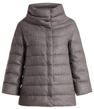 Herno Funnel Neck Quilted Down Jacket - Womens - Dark Grey