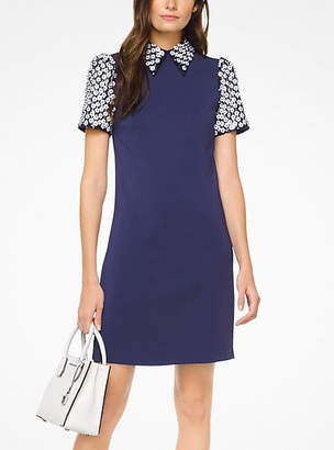 Michael Kors Floral Sequined Collared Shift Dress