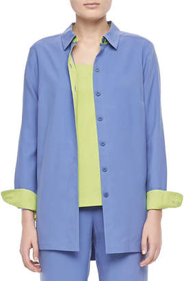 Go Silk Colorblocked Silk Shirt, Plus Size