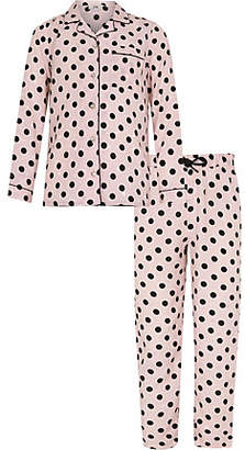 River Island Girls pink spot print pajama set