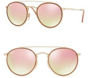 Ray-Ban 51mm Mirrored Round Double Bridge Sunglasses $185 thestylecure.com