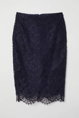 H&M Lace Pencil Skirt - Blue
