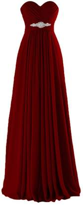 Lily Anny Long Chiffon Sweetheart Evening Bridesmaid Dresses Prom Gowns L005LF US