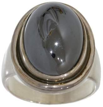 Georg Jensen 925 Sterling Silver Hematite Ring Size 8.75