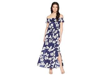 Adrianna Papell Petite Simple Delight Ruffle Maxi Women's Dress