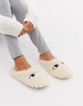 Monki fluffy slippers in beige