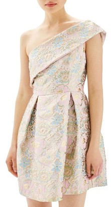 Women's Topshop Floral Jacquard One-Shoulder Minidress $140 thestylecure.com