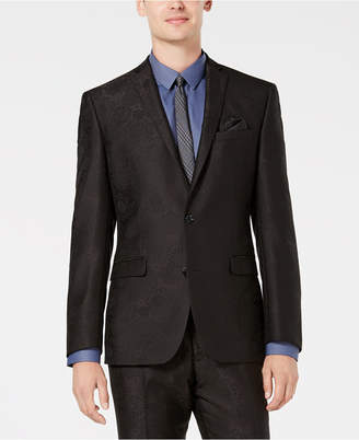 Bar III Men's Slim-Fit Black Jacquard Suit Jacket