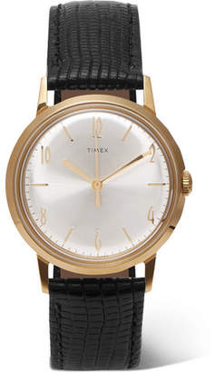 Timex Marlin Hand-Wound 34mm Gold-Tone and Textured-Leather Watch - Black