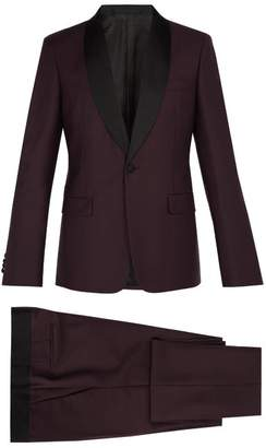 Prada Contrast Panel Single Breasted Mohair Blend Suit - Mens - Burgundy