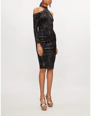 Forever Unique Cold-shoulder metallic snakeskin velvet dress