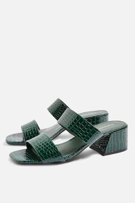 Topshop Downtown Crocodile Effect Two Part Mules
