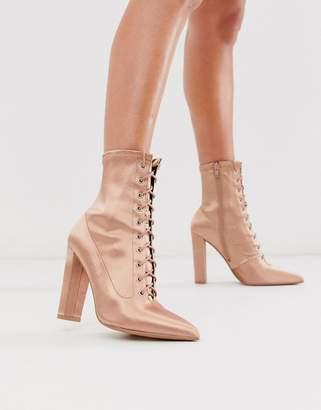 Asos Design DESIGN Equals lace up block heel boots in pink satin