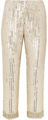 Ganni Temple Cropped Embellished Chiffon Straight-leg Pants