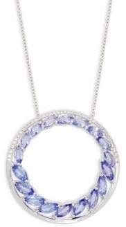Effy 14K White Gold, Tanzanite & Diamond Pendant Necklace