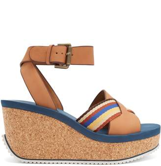 See by Chloe Leather cork-sole platform sandals