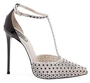 Rene Caovilla Women's Crystal Star Satin T-Strap Stiletto Pumps