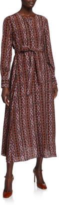 Lafayette 148 New York Coleen Long-Sleeve Belted A-Line Kilim-Print Silk Dress