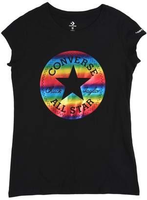 Converse Girls Black Chuck Patch Foil T-Shirt - Black