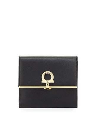 Salvatore Ferragamo Gancio Clasp Saffiano French Wallet, Nero $525 thestylecure.com