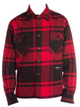 Off-White Men's Flannel Check Shirt - Red - Size Small