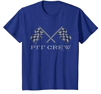 Vintage Checke Flag Pit Crew Race Car T Shirt
