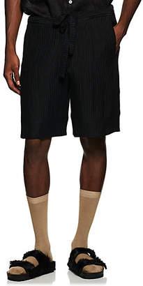 HECHO Men's Textured Silk-Linen Shorts - Black