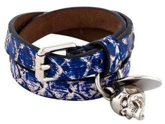 Alexander McQueen Python Skull Wrap Bracelet