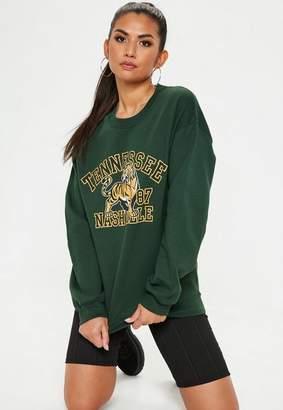 Missguided Tennessee Nashville Sweatshirt Green