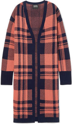 Markus Lupfer Roisin Checked Wool-jacquard Cardigan - Pink