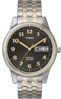 Timex Men's | Black Dial Two-Tone Case Stainless Steel Band | Dress Watch T26481